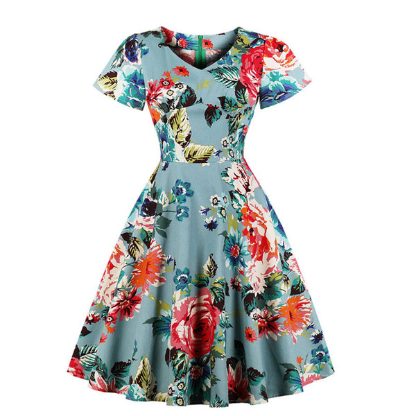 Summer Womens Floral Printed Short Sleeve Vintage Dress 50s 60s Ladies  Retro Big Swing A Line Evening Party Dress Plus Size Hot White Dress Women  ...