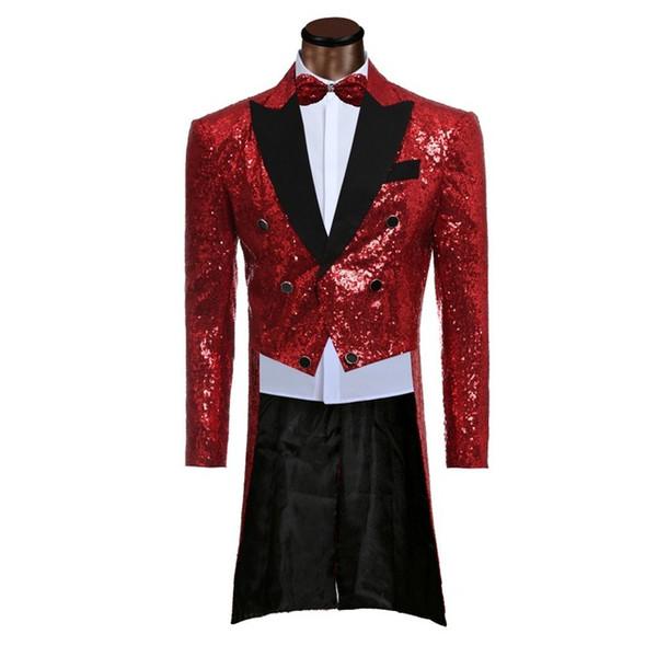 Custom made Men Red Suit Sequin Suits Jacket Pants Formal Dress Mens Suit Set men wedding suits groom tuxedos(jacket+pants)