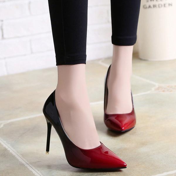 High Heels Schuhe Frau Elegante Dünne High Heels Spitzschuh Farbverlauf Frauen Pumps Party Frühling Herbst Plus Größe 34-42