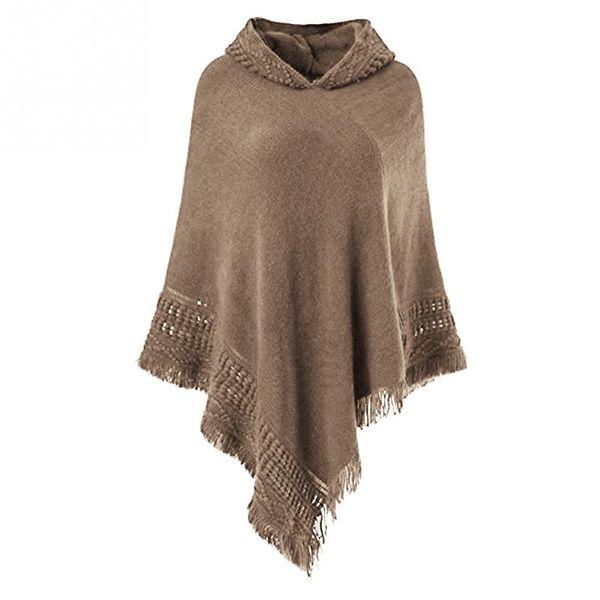 Autumn tassel scarf pashmina Cardigans Tops Women Casual Loose Long Irregular Hem Tassel Cardigan Cape Poncho Black