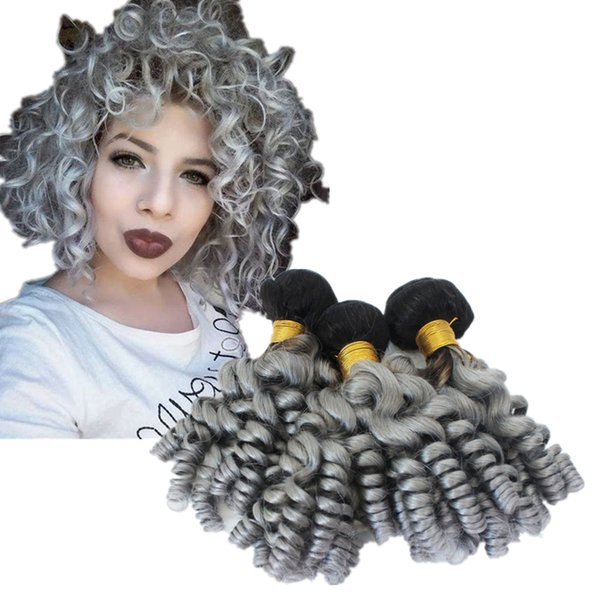 Ombre Color Natural Black and Grey Funmi Human Hair Bundles Weft 3Pcs/Lot Dark Roots 1B Silver Grey Funmi Curly Hair Weaves Extension