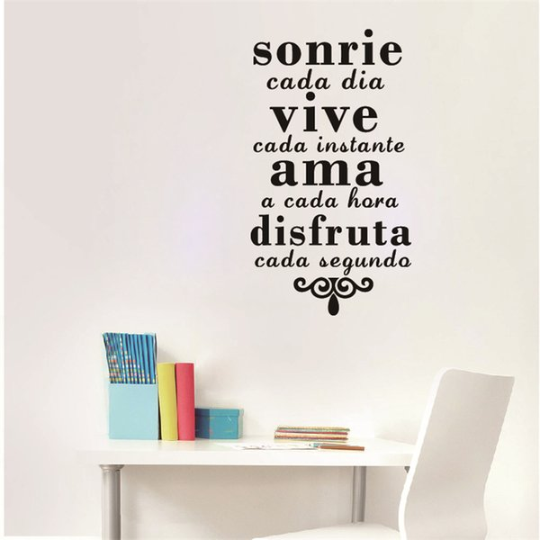 Cheap Stickers Spanish Inspirational Quotes Wall Art Sticker Smile Everyday  Live Every Moment Vinyl Art Mural Wall Decals Home Decoration Decal Wall ...