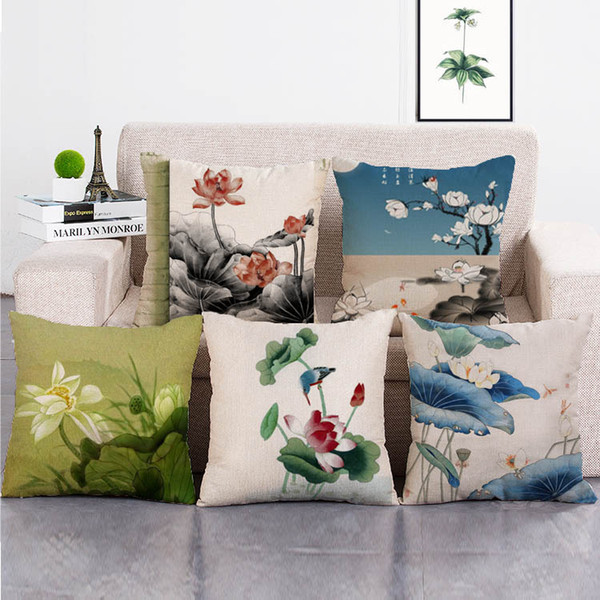 "Soft Linen Cotton Pillow Case Lotus Cushion Cover Sofa Decor Throw Pillowcases Home Hotel Decoration 18"" x 18"""
