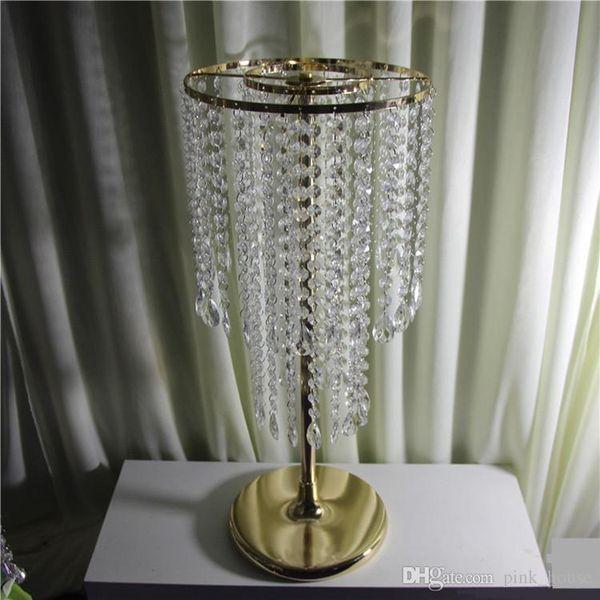 Großhandel Goldene Hochzeit Herzstück Acryl Perlenstränge 60cm Hoch Acryl Kristall Blume Stehen Für Hochzeit Tischdekoration Herzstück Von