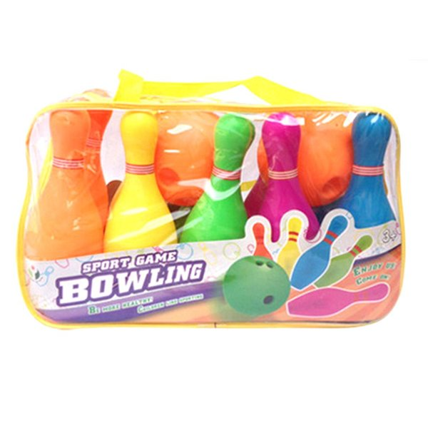 Children Plastic Bowling Set Emulational Sport Toy with Small-size Handbag Package - Colorful