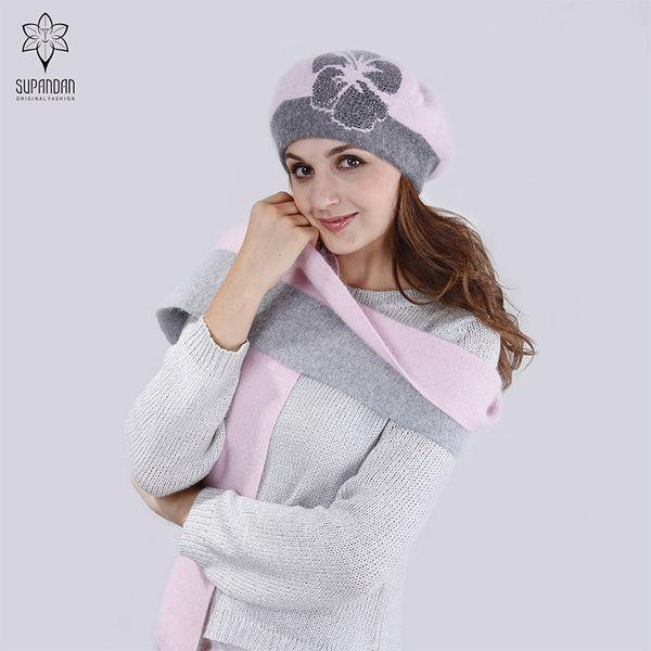 SUPANDAN Autumn Winter Wool Knitted Hat Scarf Set For Women Cap Collar Warm Thick Flower Fleece Beret Hat Women Caps 8481B