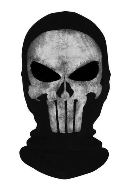 Novità The Punisher Skull Balaclava Mask Cosplay Face Hood Halloween CS Biker
