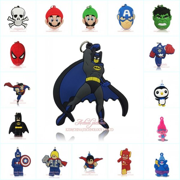 top popular 500+ Avenger Superhero Trolls Mario Octonauts Pendant Cartoon Soft PVC Pendant Fit for Keychain Necklace Fashion Accessory Party Gift Favors 2019