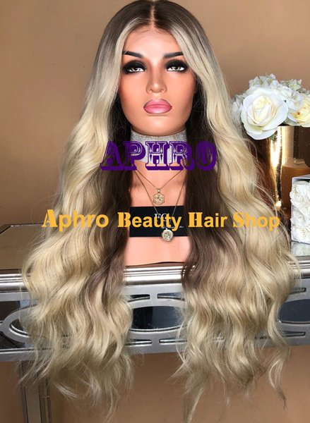 Dark Roots Ombre Blonde Full Lace 5x5 Inch Silk Top Long Wigs With Highlights European Human Hair Glueless Silk Base 20-30 Inch Wigs
