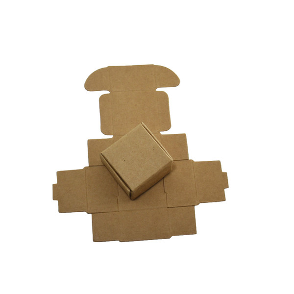 4*4*2.5cm Mini Natural Brown Kraft Paper Box Wedding Gift Jewelry Packing Box Party Supplies Ring Earring Packaging Paper Box 50pcs/lot