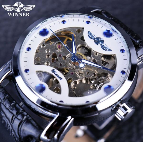 Ganador Blanco Azul Dial Reloj Hombre Automático Mecánico Esqueleto Reloj Diseñador Relojes Hombre Reloj Reloj Hombres