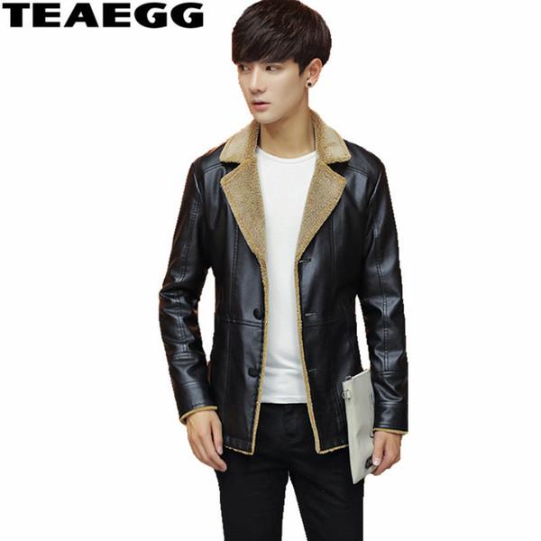 TEAEGG Pu Leather Jacket Men Parkas Turn Down Collar Black Mens Winter Leather Jackets Outwear Jaqueta Masculina Couro AL543