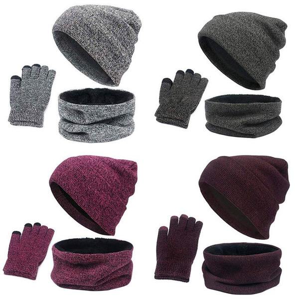 Kit 3PCS Set Women Hat Winter Knitted Cap Collar Gloves Soft Fleece Lined Warm Scarf Hat Outfits