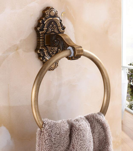 top popular Antique gold Towel Rings Wall Mounted Towel Holder Towel Ring Solid Brass Construction antique Finish Bathroom Accessories 2021