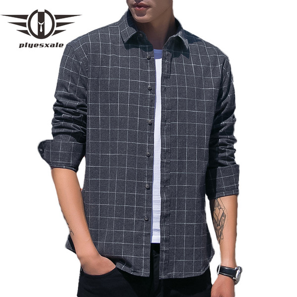 plyesxale plaid shirt men long sleeve 100% mens cotton shirts casual camisa masculina japanese streetwear slim fit male shirt t3, White;black