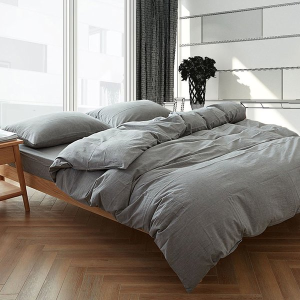 Modern Gray Washed Cotton Duvet Cover Sets Queen King Size Home Soft Plain Dyed Bedclothes Pillowcase Zipper Bedding Set