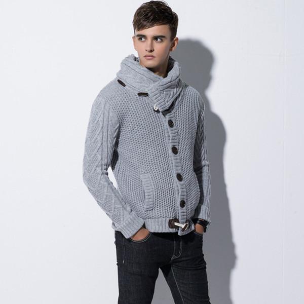 2018 hommes hiver tricot chandail col roulé chandails chandail coupe mince mâle cardigan corne bouton pull manteau foulard tricots