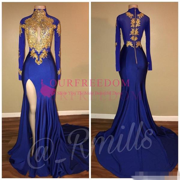 2019 vente chaude arabe appliques d'or col haut robes de bal de sirène Vintage manches longues sexy haute cuisse Split Black Girls robes de soirée