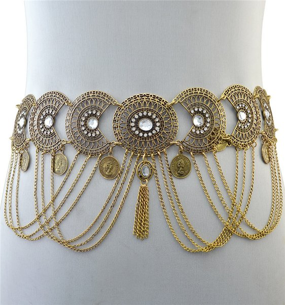 Fashion Mental Tassel Golden Chain Belts For Women Popular Crystal Inlay Alloy Casual Dance Waist Chain Vintage Fringe Belt 13 S18101807