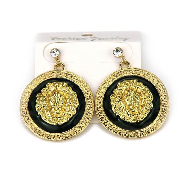 Lion Head Animal Earrings Statement Stud Earrings For Women Europe America jewelry hiphop Nightclub Z37