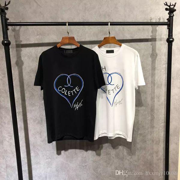 18FW Luxury Europe Paris High Collaboration Coco Love Heart Graffiti Art Tshirt Fashion Men Women T-Shirt Casual Cotton Tee Top