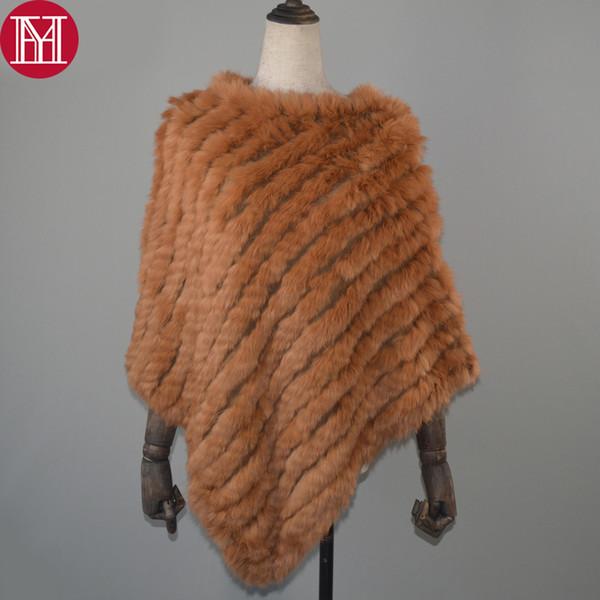 Women Spring Autumn Knit Genuine Real Rabbit Fur Poncho Scarves Real Natural Rabbit Fur Shawl Pashmina Real Rabbit Fur Scarf D18102406