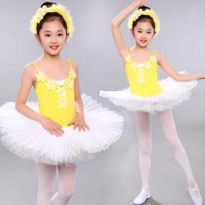 Vestito giallo da prestazione di balletto del vestito da ballo della ragazza del vestito dal tutu di balletto della garza gialla poco costoso per trasporto libero di manifestazione