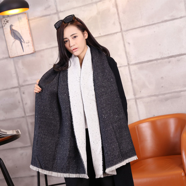 e8ddcf528 2016 New Women Poncho B Double Side Cashmere Wool Scarf Embroidery  personalized Poncho Cape Block Check Blanket Scarf