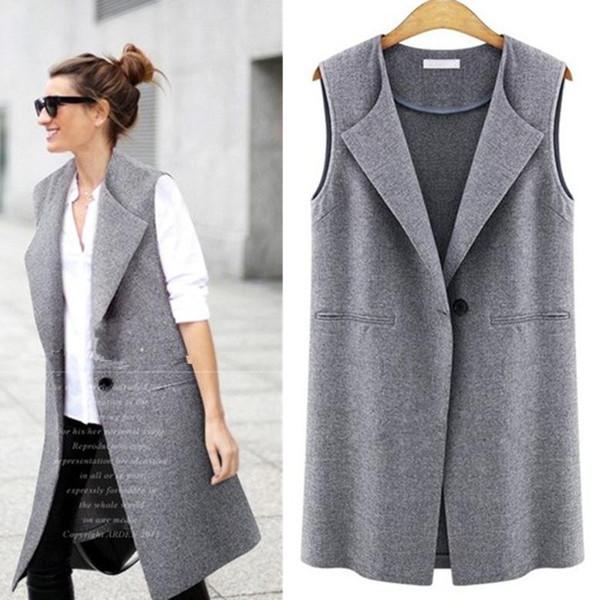 2016 Spring New Fashion Large Size Women Female Turn-down Collar Single Button Long Vest TC0004