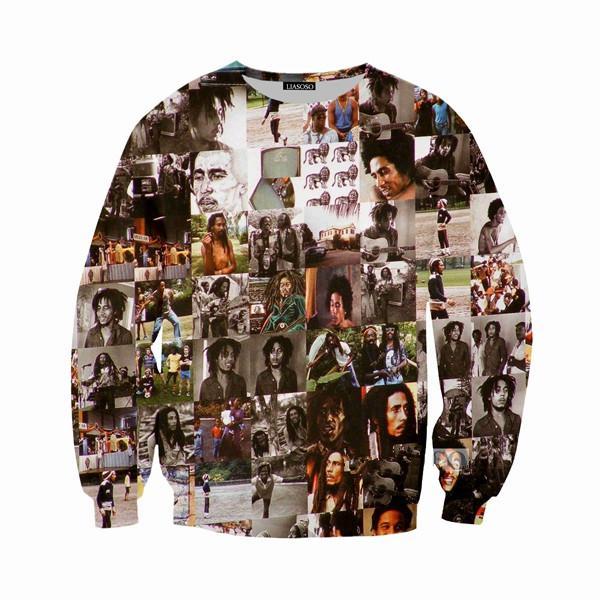 La moda más nueva Reggae Star Bob Marley 3D Imprimir Sudores Ropa de moda Mujeres Hombres Sudadera Casual Jerseys K218