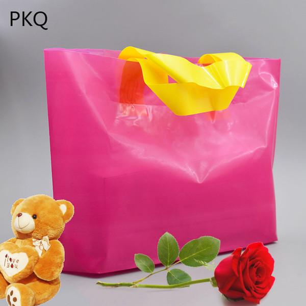 4 tailles 50pcs grand sac d'emballage de cadeau, sac en plastique d'emballage en plastique de boutique avec la poignée sac à provisions blanc bleu violet