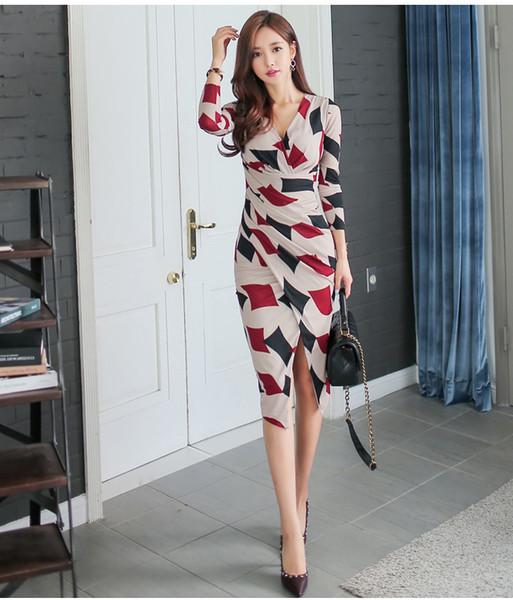 Frauen 2018 Herbst und Winter Neue Damen Temperament V-Ausschnitt Geometric Print Unregelmäßige Paket Hüfte Split Kleid Größe S-XL