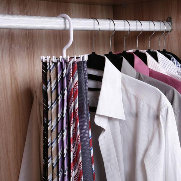 Factory Free Shipping Rotating Tie Rack Hanger Holder 20 Hooks Clostet Clothing Rack Hanging Necktie tie Shelves Wardrobe Organizer White