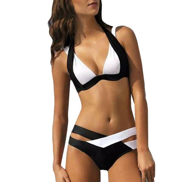 b8d26a77f1f8b Sexy Ladies White Solid Halter Thong Biquini Beach Wear Bathing Suit Women  Push Up Bra Set Summer Beach Crop Top