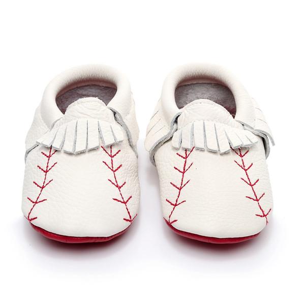 Мода новорожденных Детская обувь натуральная кожа бейсбол детские мокасины красная подошва первый Уокер обувь кисточкой высокое качество загрузки