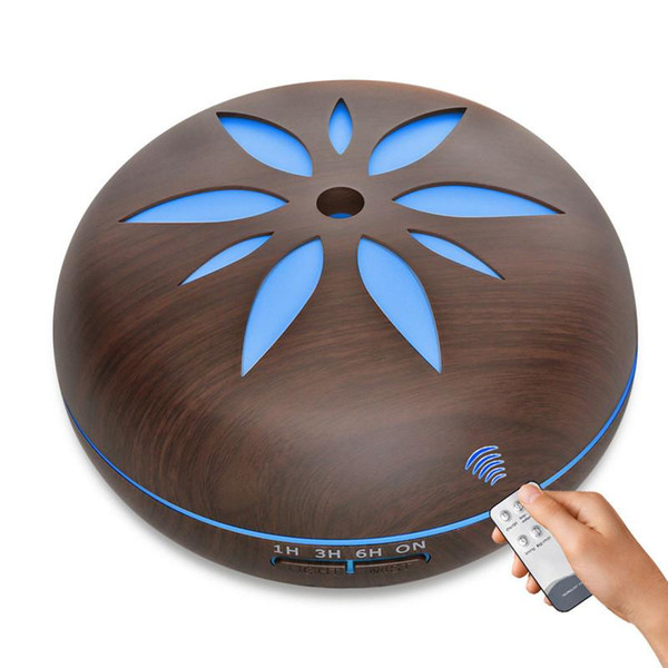 550ML Wood Grain Petal Humidifier Ultrasonic Aroma Diffuser Timing Setting Essential Oil Diffuser Air Purifier EU/US/UK/AU Plug
