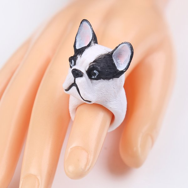 2018 New Cute White Black Dog Ring Cute Trendy 3D Finger Animal Rings for Women Jewelry Accessories Cartoon Rings For Woman Wholesale 2988
