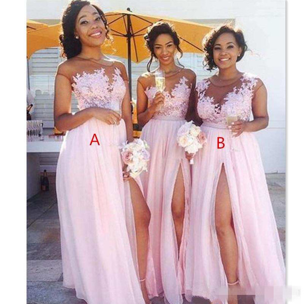 best selling Cheap Country Blush Pink Bridesmaid Dresses 2019 Sexy Sheer Jewel Neck Lace Appliques Maid Of Honor Dresses Split Formal Evening Gowns Wea