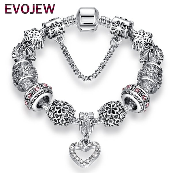 EVOJEW Fashion Silver Plated Heart Crystal Women Charm Beads Bracelets Snowflake Beads Snake Chain Bracelets Jewelry with Safety Chain