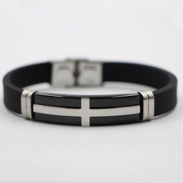 Braccialetto in acciaio inossidabile dei monili coreani del braccialetto degli uomini Braccialetto in acciaio di titanio del braccialetto di sport del silicone all'ingrosso Commercio all'ingrosso