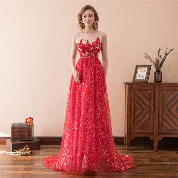 Compre 2018 Vestidos De Noche Largos Rojos Sexy Ilusion Vestido De Fiesta Barato Foto Real En Stock Mujeres Vestidos De Fiesta Formales Desgaste De La