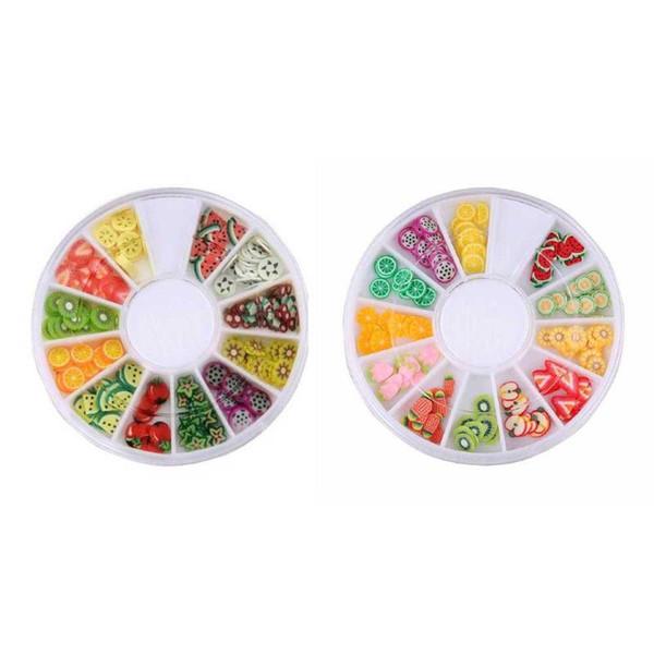 1 Caixa de Argila Do Polímero Minúsculo Fruta Fatias Autocolantes Roda DIY 3D Prego Beaty Designs Nail Art Decor (Aleatório)