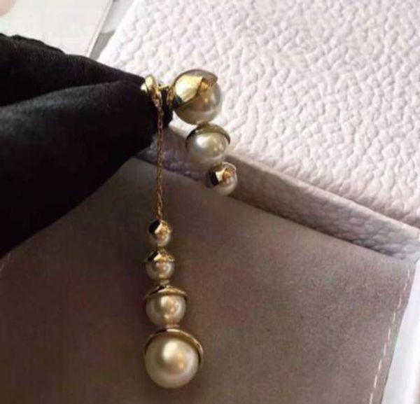 Nuevos pendientes de perlas de racimo de uva caliente pendientes de perlas borlas de perlas de tamaño de alta calidad de moda