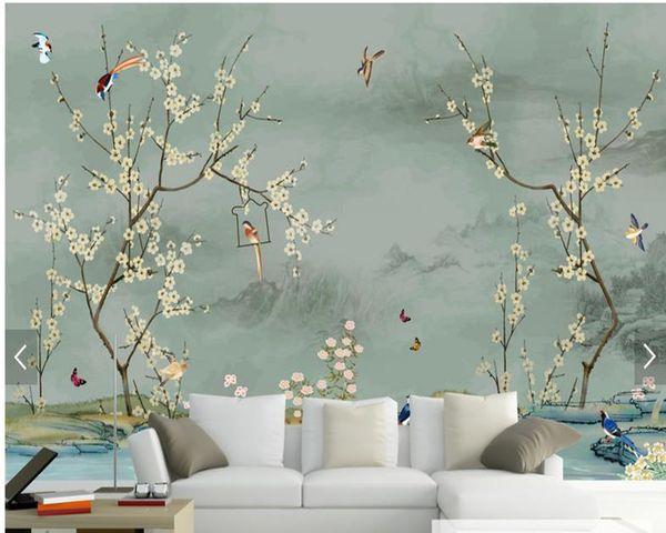 Özel kuş duvar kağıdı, elle çizilmiş kroki Kuş ve oturma odası yatak odası kanepe zemin duvar dekor için çiçek resimleri duvar kağıdı