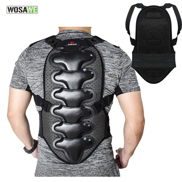 WOSAWE Adjustable Double Layer Back Support EVA Shell Vertebra Protector Motorcycle Motocross Extreme Sports Body Protection