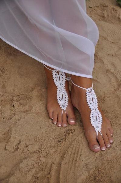 Compre Boda En La Playa Boda Blanca De Ganchillo Sandalias Descalzas ...