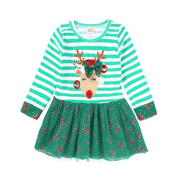 Kids Tales Christmas Dresses Striped 3D Elk Applique Bow Three layers Cake Tutu Candy Dots Gilding Printed Dress Long Sleeve Sheath 9M-6T