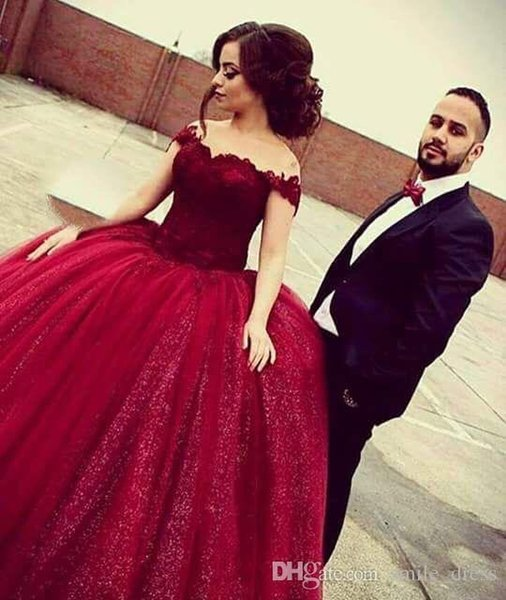 Dark Red Puffy Arabic Evening Dresses Ball Gown Off The Shoulder Lace Sequined Dress Plus Size Dubai Formal Prom Party Dresses SE184