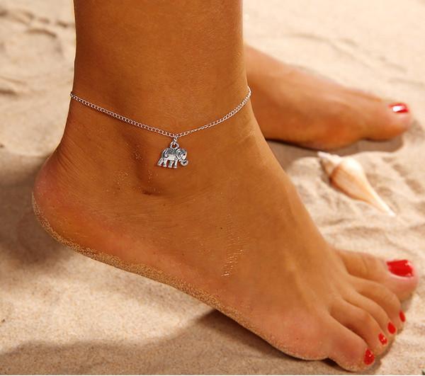 Cavigliera per elefanti animali da donna Bracciale per cavigliera da donna in argento Boho con catena a forma di fascino
