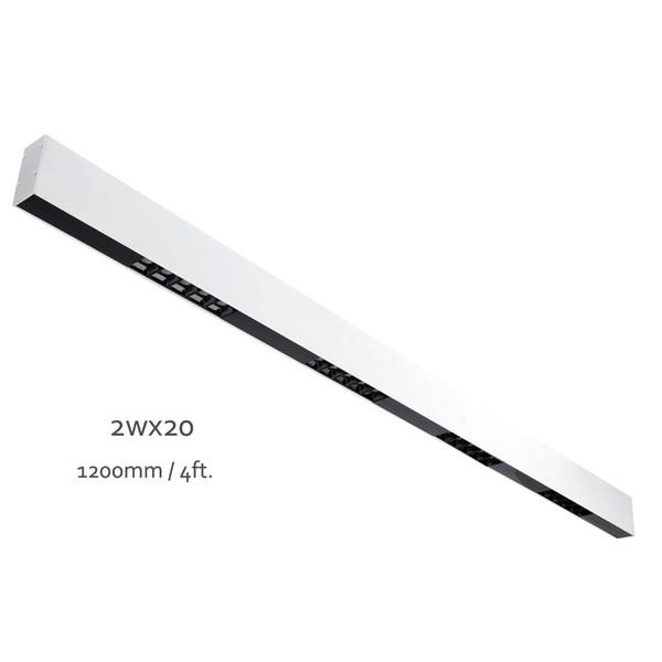 Blanc fini peint LED 40W linéaire antireflets Bar Pendentif Salle à manger Lampe Surface Lumière de plafond monté 120cm